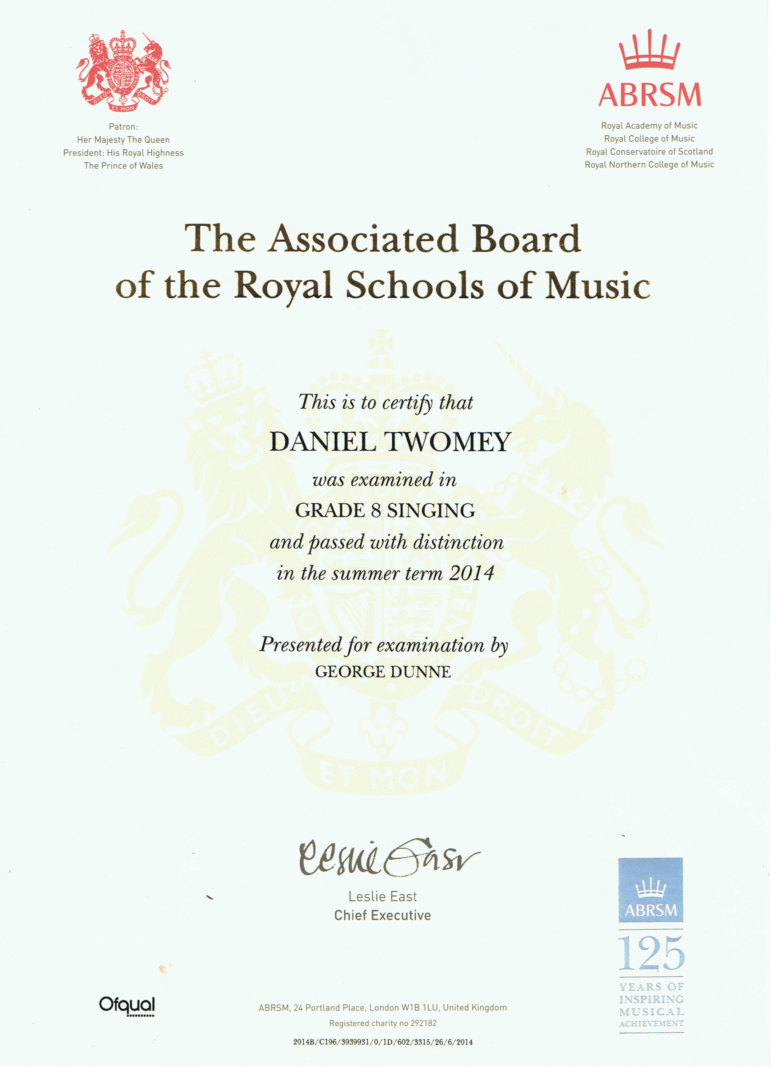 Awarded a distinction in abrsm grade 8 practical singing certificate 1betcityfo Choice Image