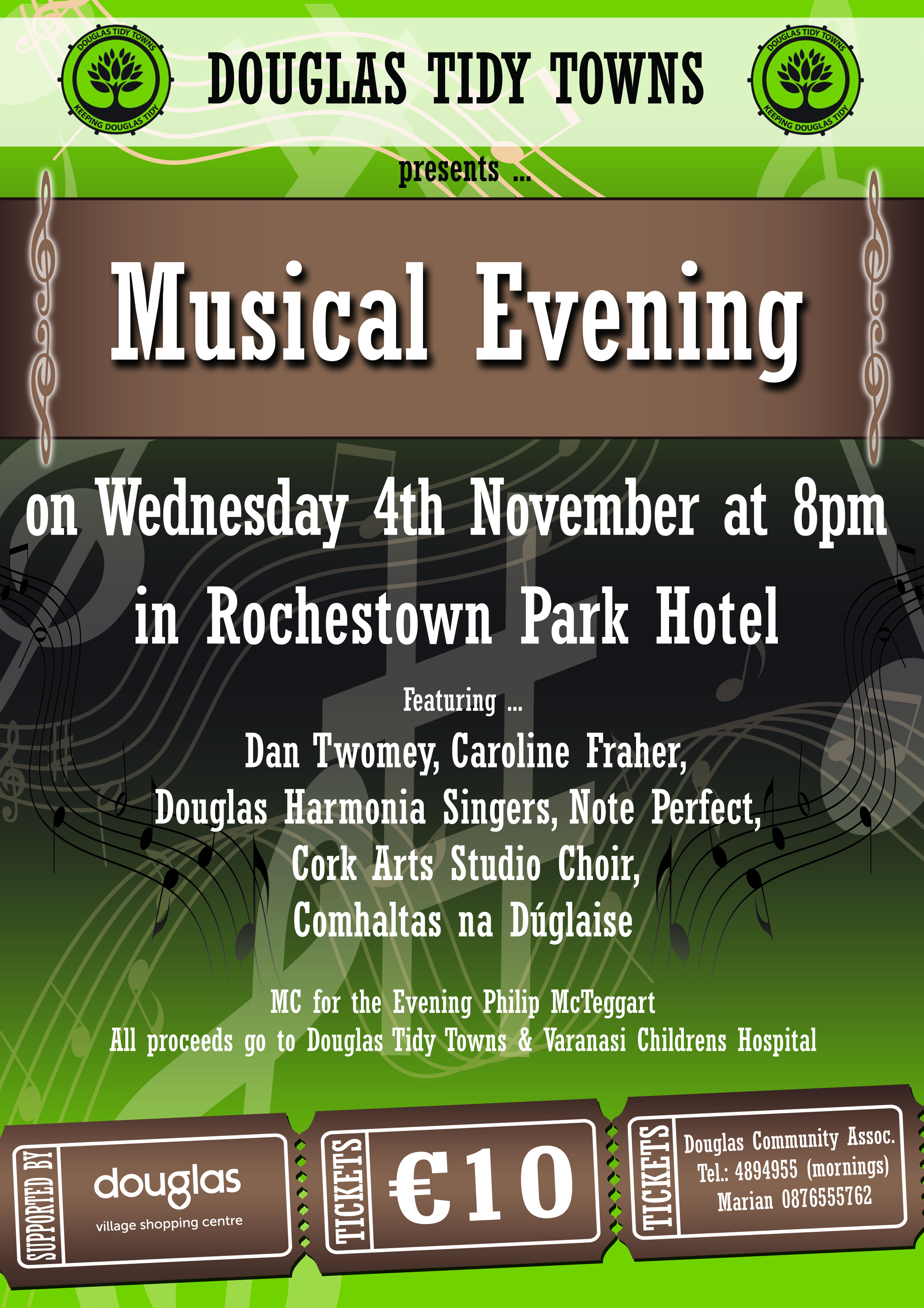 performed at douglas tidy towns concert, rochestown park hotel